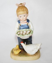 "Homco 1985 Denim Days Girl Figurine ""Gathering Eggs"" #1509 - $10.00"
