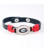 Georgia Bulldogs Team Logo Adjustable Leather Bracelet - $5.00