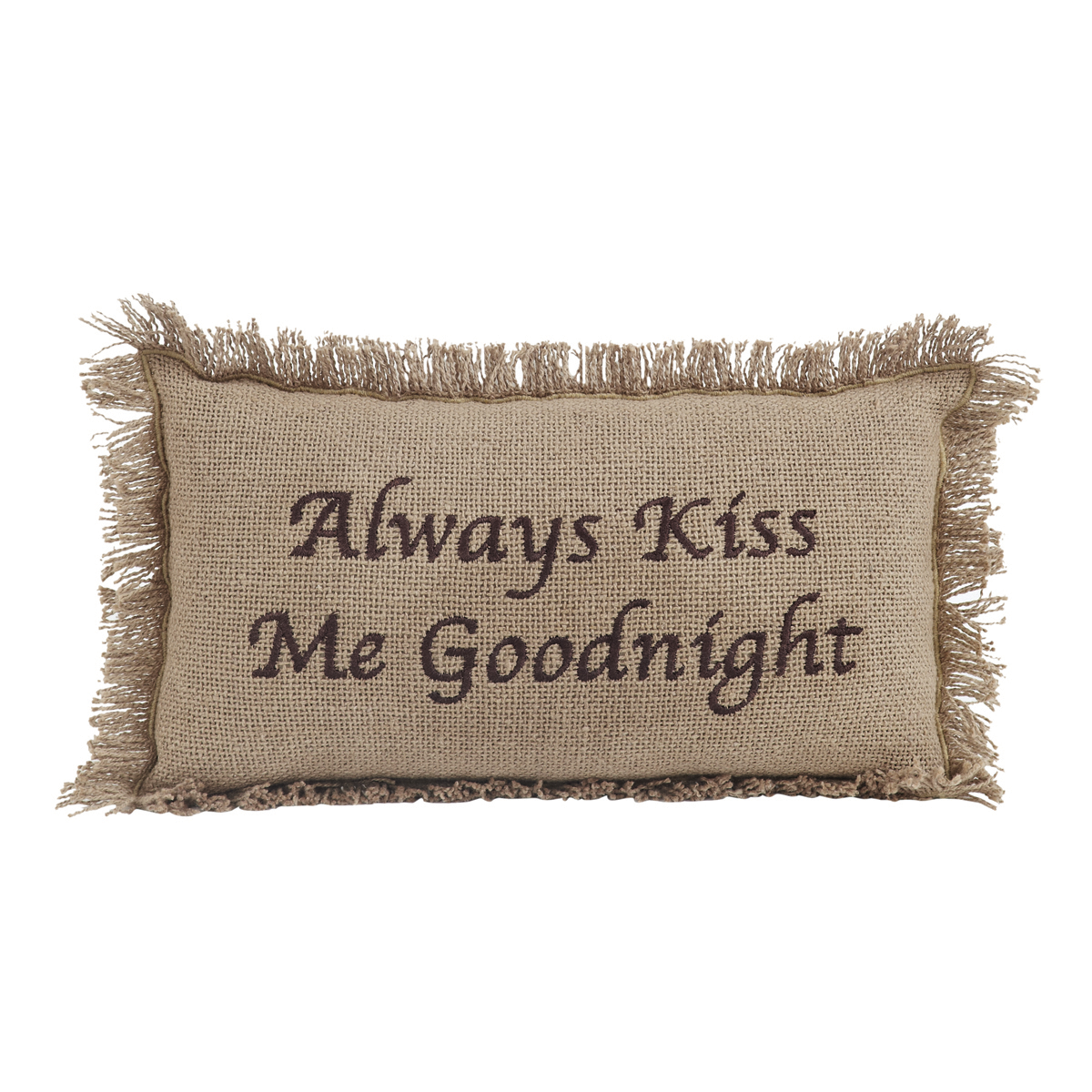 BURLAP NATURAL Pillow - Kiss Goodnight - 7x13 - VHC Brands - Country Farmhouse