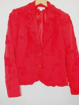 Christopher & Banks Top Blazer Light Jacket Shirt Small Red Button Flora... - $23.83