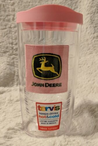 John Deere LP46905 Pink Yellow Leaping Deer 16 OZ Hot  Cold Tumbler