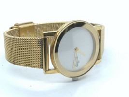 Skagen womens gold tone 25mm watch, ultra slim 39sgg, new battery and wo... - $30.00