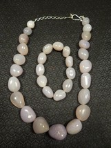 Vintage Graduated Lavender Agate Necklace & Bracelet Set w/Sterling Clasp - $74.25