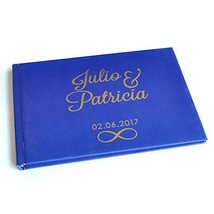 Wedding Guest Book A5 Size, Custom Blue Wedding Guestbook Album Personal... - $19.79