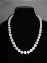 VTG White Plastic Celluloid Beaded Necklace - Twist Clasp Closure - $19.80