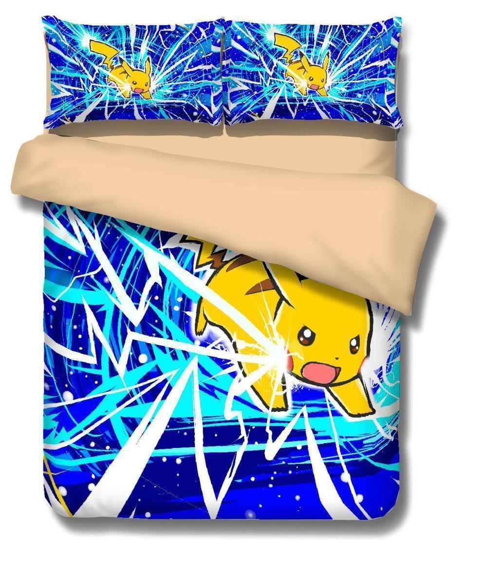 3D Pokemon Electric Shock Pikachu Quilt Cover Bedding Set Duvet Cover Twin  Size