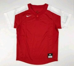 Nike One-Button Laser Jersey Youth Boy's Medium Red White Baseball - $17.99