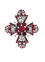 "2.3/8"" Long Red Rhinestones Chic Maltese Cross Brooch Pin Gunmetal Finis... - $12.09"