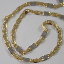 SOLID 18K WHITE & YELLOW GOLD CHAIN, OVAL PLATES LINK 19.68 IN. MADE IN ITALY image 3