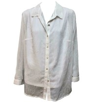 Laura Scott Womens White Long Sleeve Button-Down Sheer Collared Top 16W NWT - $13.86