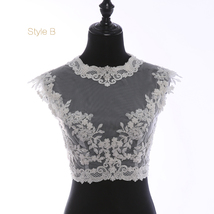 Deep V Illusion Neckline Lace Tops Sleeveless Empire Style Lace Bridesmaid Tops image 5