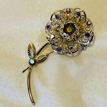 """Vintage Sarah Coventry AB Aurora Borealis Large 4"""" Rose Brooch with Red Crystals - $19.94"""