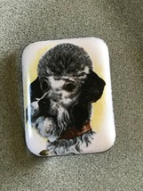 Vintage White Enamel w Gray Poodle Dog Metal Brooch Pin – 1 and 5/8th's ... - $14.89