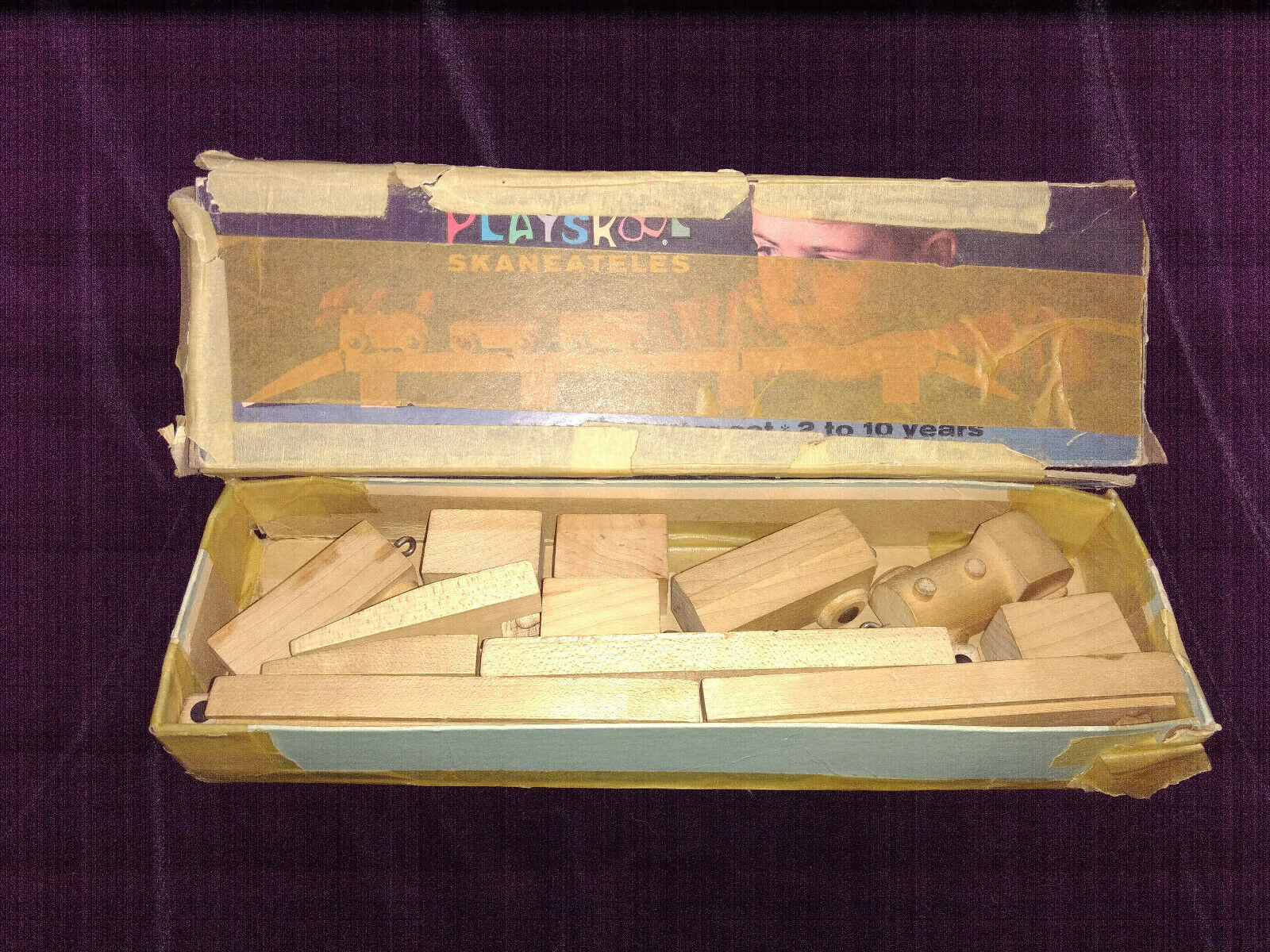Vintage Playskool skaneateles Wooden Train Trestle Tunnel Track