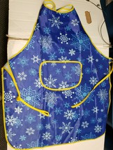 Printed Kitchen Vinyl Apron with Pocket, SNOWFLAKES ON BLUE - $14.84