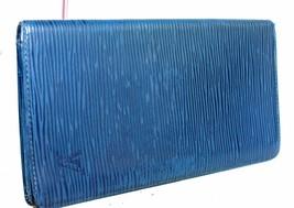Auth Louis Vuitton Paris Epi leather Toledu Blue Bifold Slim Long Wallet Spain - $108.57