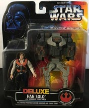 1996 STAR WARS Deluxe Collection Han Solo With Smuggler Flight Pack MOC - $12.86