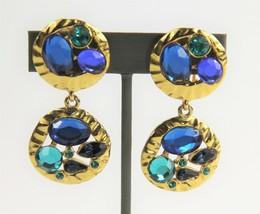 VINTAGE ESTATE Jewelry 80's HIGH END RUNWAY BIG GEM CRYSTAL CLIP EARRINGS  - $55.00