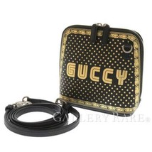 GUCCI Shoulder Bag Leather Black Gold Guccy Print Star 511189 Italy Auth... - $975.33