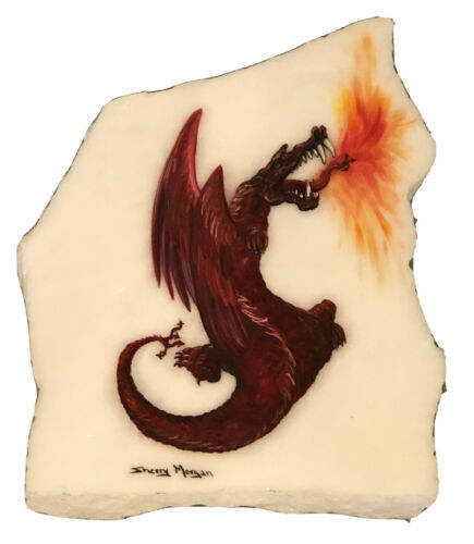 Primary image for Fire Breathing Dragon Dark Red Sherry Morgan Rock Painting White Rock