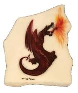 Fire Breathing Dragon Dark Red Sherry Morgan Rock Painting White Rock  - $489.99
