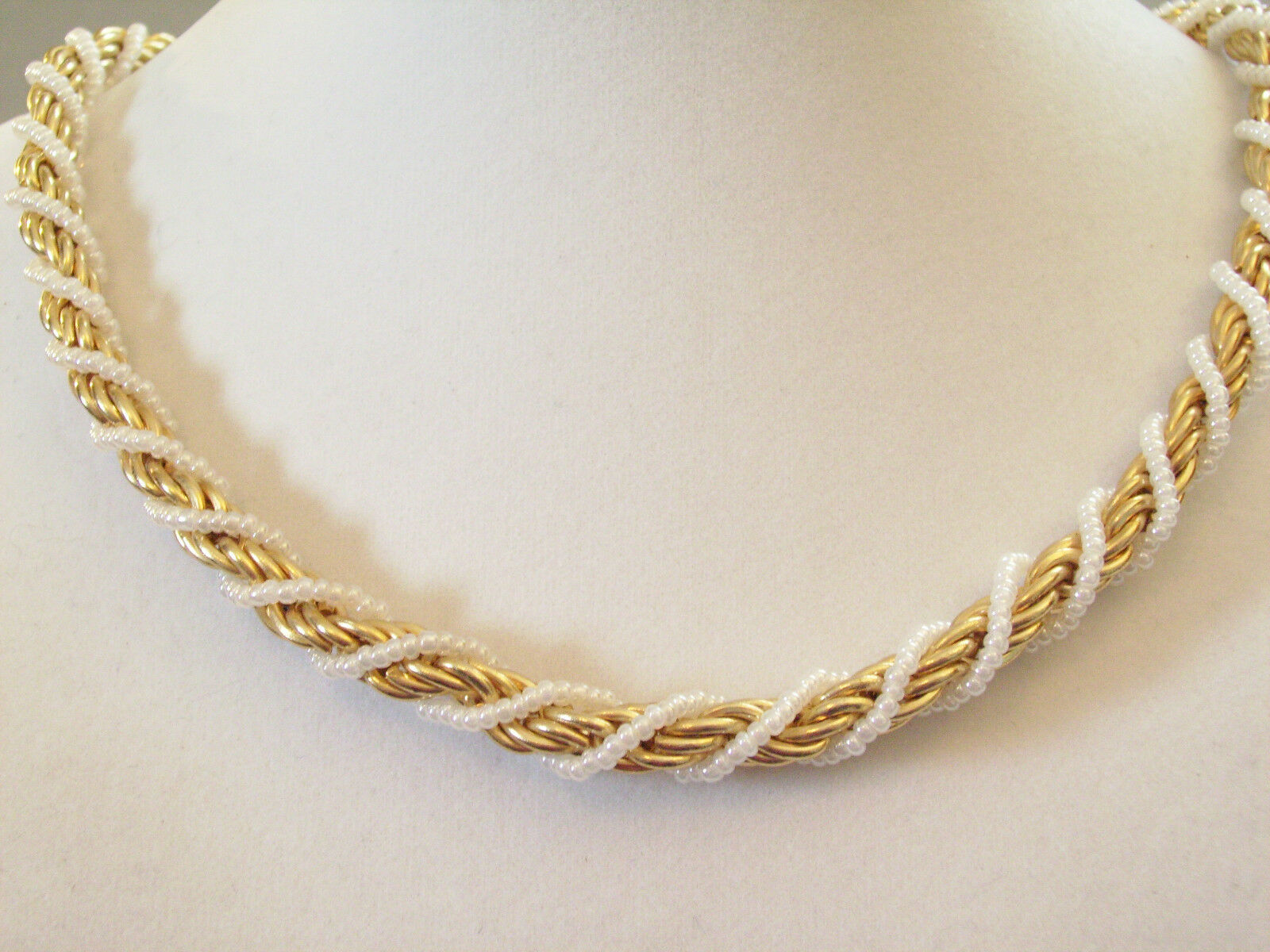 White Bead Wrapped Rope Chain Necklace Torsade Gold Iridescent Signed K Vintage