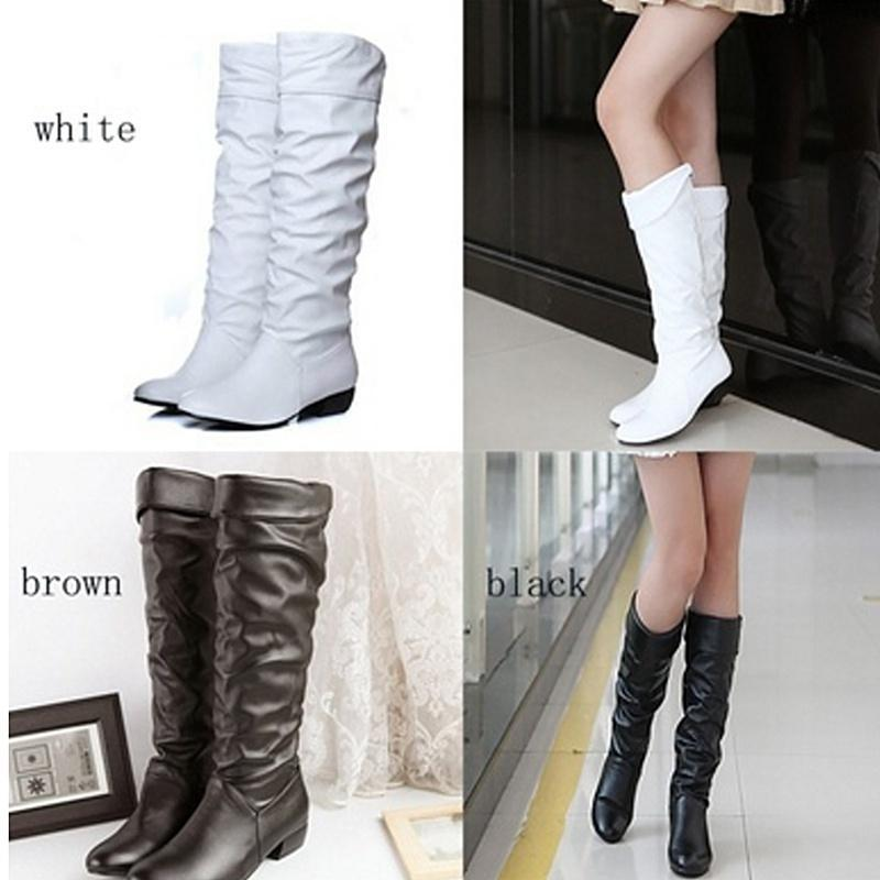 Fashion Mid calf Women Leather Boots Black White Brown Flat Heels Half Boots Aut