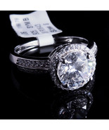 Ladies 14K White Gold Finish Lab Diamond Round Cut Solitaire Halo Bridal... - $59.99