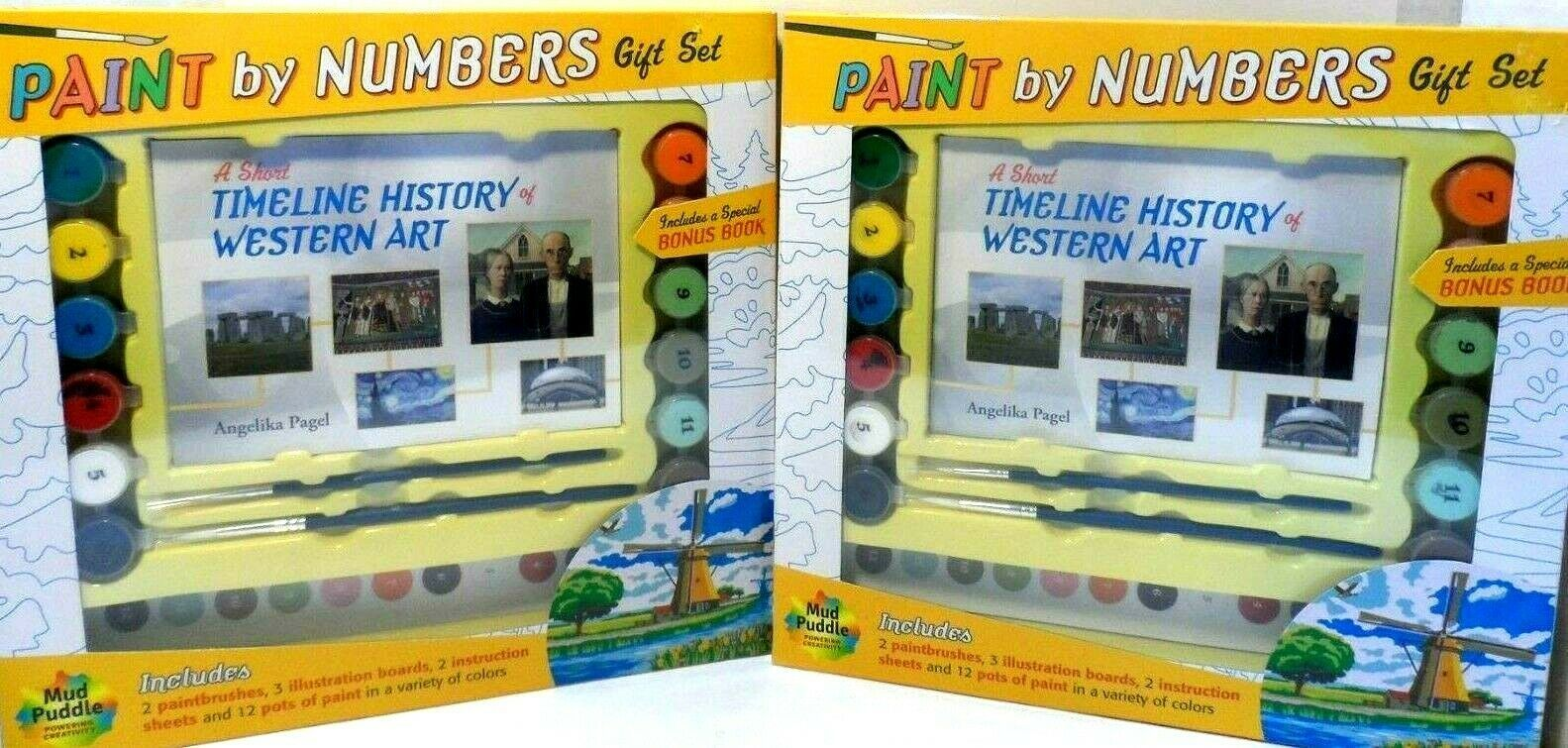 Primary image for Paint by Numbers Gift Set Timeline of Western Art by Mud Puddle Lot of 2 sets!