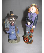 Halloween Figurines Statue Ceramic Witch With Cat & Scare Crow With Cat  - $9.95