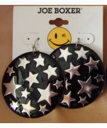 Joe Boxer Celestial Stars New Earrings Wire Hook Black and Silver Free Shipping - $7.99