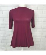 So Tunic Tee Soft Burgundy Shirt Mock Neck Top Short Sleeve Stretch Wome... - $10.84