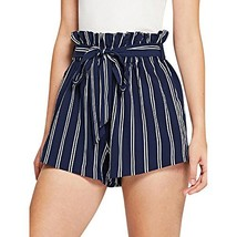 Women Retro Stripe Casual Fit Elastic Waist Pocket Self Tie Short Pants ... - $16.65