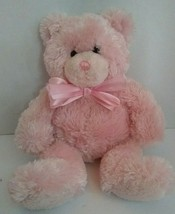 "Mary Meyer Pink Teddy Bear Floppy Plush 13"" Silky Fur Bow Tie Beanbag - $17.77"
