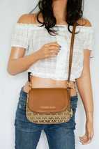 Michael Kors Bedford Small Flap Crossbody Jacquard Leaher Bag MK Beige B... - $89.09