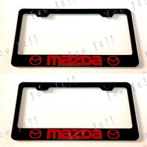 2X Red Mazda 2 3 5 Red Stainless Steel Black License Plate Frame W/ Caps - $24.74