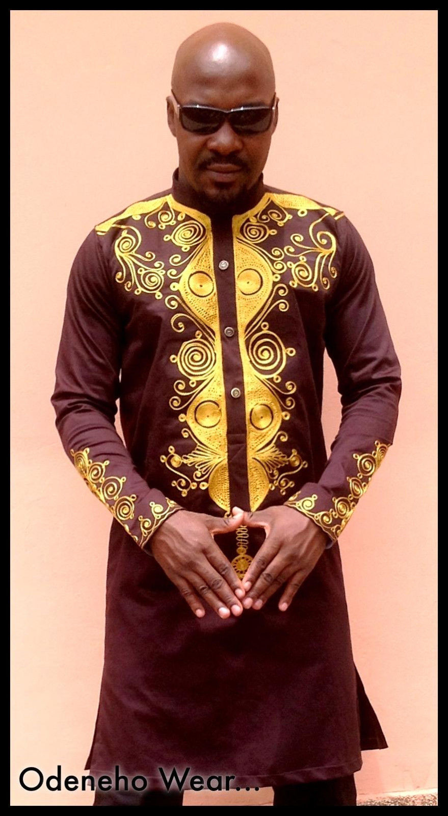 Odeneho Wear Men/'s Navy Blue Polished Cotton//Embroidery African Clothing.