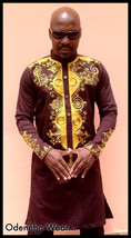 Odeneho Wear Men's Brown Polished Cotton Top/Gold Embroidery. African Clothing. - $120.00