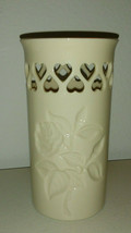 """Lenox Special Rose Patterned Vase with Heart Cutouts 5-3/4""""H x 3-1/8""""D G... - $14.85"""