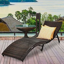 Global Supplies GS-9966 Outdoor Couch Bed Patio Folding Rattan Lounge Chair - $198.98