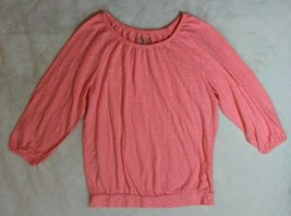 Old Navy Girls Top Size 14 Pink 3/4 Sleeve Peasant Blouse Casual Spring ... - $15.83
