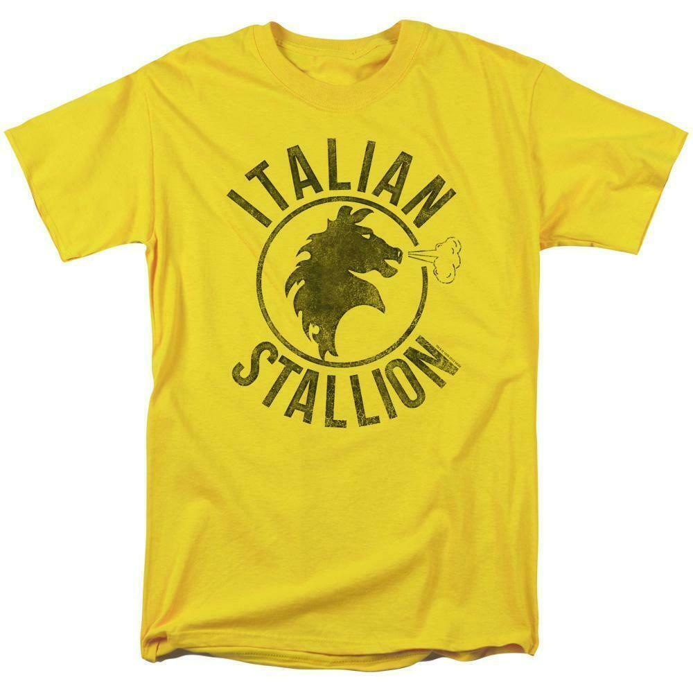 Rocky Italian Stallion T-shirt logo yellow 1980's retro movie cotton tee MGM209