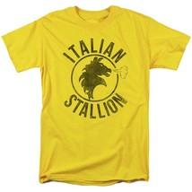 Rocky Italian Stallion T-shirt logo yellow 1980s retro movie cotton tee MGM209 image 1
