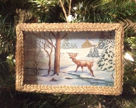 Christmas Ornament Deer in Woods Print Framed Under Glass Chad Barrett - $12.82