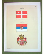 FLAGS Serbia Ensign Coat of Arms & Samoa - 1899 Color Litho Print - $16.20