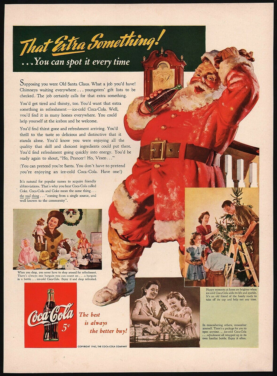 Primary image for Vintage magazine ad COCA COLA from 1942 Santa Claus That Extra Something slogan
