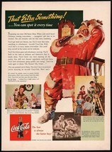 Vintage magazine ad COCA COLA from 1942 Santa Claus That Extra Something... - $13.49