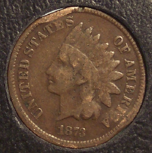 """1873 Indian Head Cent Open """"3"""" Scarce Date #193"""
