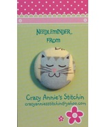 Cat Gray Needleminder fabric cross stitch needle accessory - $7.00