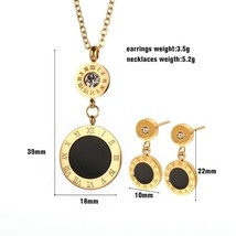 Fashion Double Round Earrings Pendant Necklace Jewelry Gold Color Roman Numeral  - $14.29